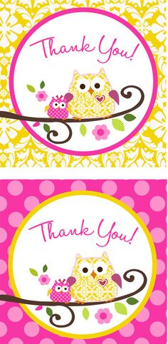 Owl Happi Tree Shower Thank You tags Baby Girl Owl, Baby Owls, Owl Invitations, Shower Invitations, Baby Shower Thank You, Baby Shower Fun, Owl Themes, Food Tags, Thank You Tags