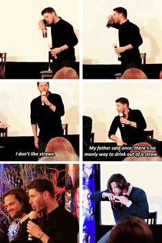 However that is the manliest way to remove a straw.... [SET OF GIFS] Jensen and Jared convention panel at NJCon 2013