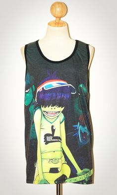 Gorillaz Black Tank Top Singlet Sleeveless Photo Transfer Women Art Punk Rock T-Shirt Size L. $23.99, via Etsy.