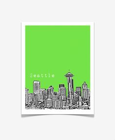 Seattle Skyline Poster by birdAve on Etsy #Seattle