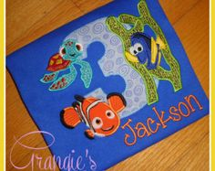 Personalized Custom Finding Nemo Birthday T-Shirt with Dory, Nemo, and Squirt