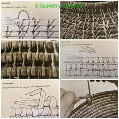 Pine needle baskets instructions and diagramsNeed to make teatros little funnel. What I've been doing lately seems to work pretty well.Adding a New Piece of Raffia. Weaving Projects, Weaving Art, Weaving Patterns, Rope Basket, Basket Weaving, Pine Needle Crafts, Stoff Design, Mode Crochet, Pine Needle Baskets