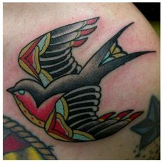 Traditional Swallow Tattoo by Zack Taylor at Evermore Tattoo. G Tattoo, Body Art Tattoos, Sleeve Tattoos, Trendy Clothes For Women, Hair Accessories For Women, Traditional Swallow Tattoo, Traditional Tattoos, Evermore Tattoo, Americana Tattoo