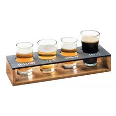 """Features:  -Madera collection.  -Material: Reclaimed wood and write-on board.  Finish: -Black.  Product Type: -Taster Tray.  Primary Material: -Wood. Dimensions:  -2.25"""" Cut outs for glasses.  Overall"""
