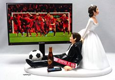 Football, Soccer (Any Team) Funny Custom Wedding Cake Topper Bride and Groom by…