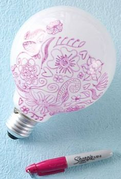 100 Gift Ideas For Teens Did you know if you draw on a lightbulb with a sharpie it'll decorate the walls with your designs.Did you know if you draw on a lightbulb with a sharpie it'll decorate the walls with your designs. Diy Projects To Try, Craft Projects, Craft Ideas, Project Ideas, Diy Projects For Teens, Game Ideas, Light Bulb Art, Light Bulb Crafts, Lamp Light