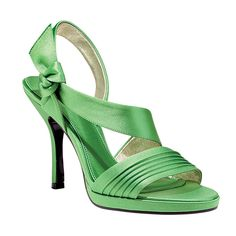 Brides: Nina. These grass green satin sandals manage to be both sweet and sassy.