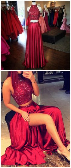 Prom Dresses,Long Prom Dresses,Red High Neck Two Piece