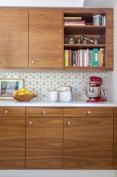 mid century wood cabinets hexagon backsplash - Google Search