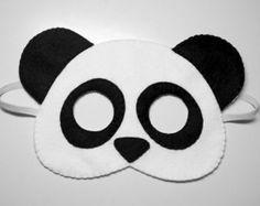 Panda bear felt mask - white black handmade woodland animal for kids adults - soft dress up play accessory photo props Theatre roleplay Panda Costume Diy, Panda Costumes, Bear Costume, Panda Birthday Party, Panda Party, Panda Maske, Panda Craft, Bear Felt, Bunny Mask
