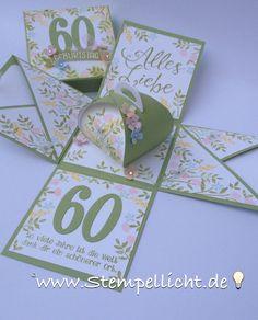 Stempellicht: Blumige Explosionsbox für einen 60. Geburtstag