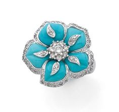 A TURQUOISE, DIAMOND AND GOLD FLOWER RING