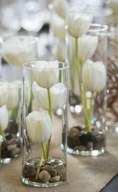 Vases Filled with White Tulips Whimsical Branches & Paper DIY Wedding Inspiration Photographer: IJ Photo Diy Wedding Flower Centerpieces, Diy Wedding Flowers, Wedding Tulips, Diy Flowers, Table Flowers, Simple Centerpieces, Flowers Vase, Diy Wedding Table Decorations, Centerpiece Flowers