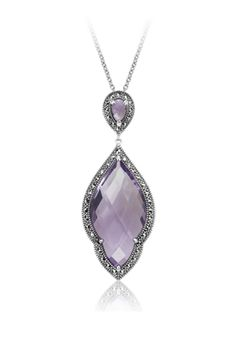 MARC Sterling Silver Amethyst Marcasite Necklace $129