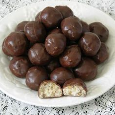 These chocolate dipped cream candies have a delicious coconut pecan taste.