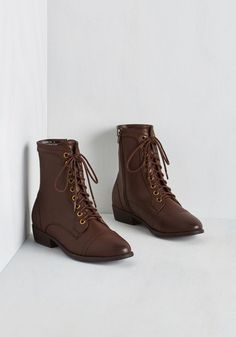 Trek Yourself Boot in Acorn - Low, Faux Leather, Brown, Casual, Military, Fall, Calf, Lace Up