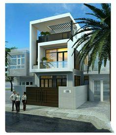 Street house of Mr. 3 Storey House Design, Bungalow House Design, House Front Design, Small House Design, Modern House Design, Narrow House Designs, Narrow Lot House Plans, Townhouse Designs, Home Building Design