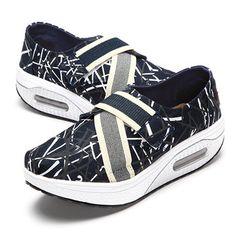 Adjustable Elastic Colorful Stripe Buckle Platform Rocker Sole Shake Shoes