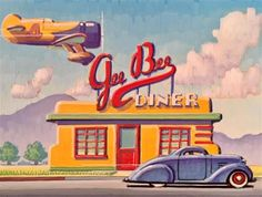 "Daily Paintworks - ""Art Deco Diner"" - Original Fine Art for Sale - © Robert LaDuke"