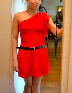 diy fashion - refashion a tee-shirt into a ruffled 1-shoulder dress
