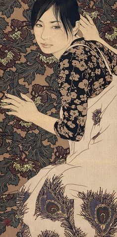 Ikenaga Yasunari - Manami 083 「かくれんぼ・愛美」 cm xcm 2011 麻布・岩絵具・水干・膠・墨・金泥 Linen Canvas/Mineral pigments/ Gelatin glue/Soot ink/Pure gold