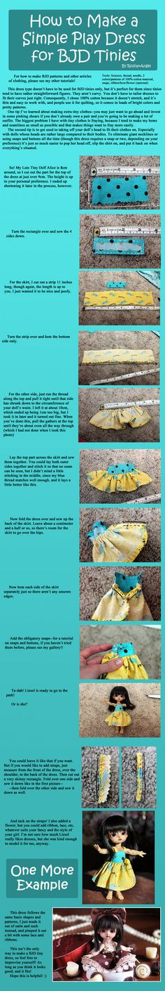 Even though she isn't very fond of dresses. Hope this is helpful! How to Make a Simple Play Dress for BJD Tinies Barbie Sewing Patterns, Doll Clothes Patterns, Doll Patterns, Doll Closet, Fairy Clothes, Doll Food, Doll Tutorial, Monster High Dolls, Doll Shoes