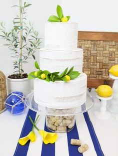 This gorgeous fresh lemon-themed cake is perfect for an Italian holiday-inspired wedding, shower, or birthday party! Get details and more Navy & Lemon party ideas now at fernandmaple.com! Party Food For Adults, Maple Cake, Lemon Party, Romantic Wedding Inspiration, Italian Summer, Fun Cocktails, Themed Cakes, Cake Decorating, Dessert Recipes