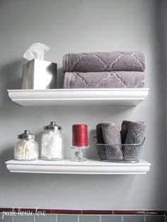 I Like The Little White Shelf In Bathroom Acutally Think What Really Is Jar Holding Q Tips Wonder If Could Add One To My