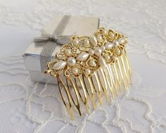 Gold metal hair comb vintage inspired. gold head piece by ATUFA, $48.00