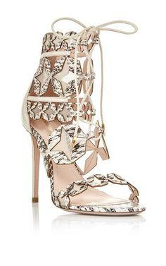 White Elaphe Stella Lace up Sandal by Nicholas Kirkwood for Preorder on Moda Operandi