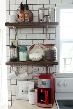 Coffee Station. Subway tile with dark grout. Love it all