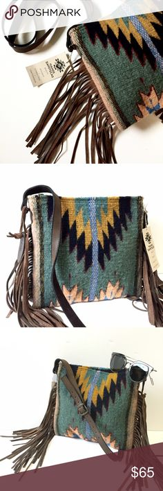 NWT || Handmade Woven Leather Crossbody Fringe Bag Shop for a cause! All proceeds from the sale of this item are being donated to a non-profit organization that supports and rehabilitates women caught in sex trafficking. To learn more check out www.wipeeverytear.org.  Handmade tribal print woven crossbody bag with leather strap and fringe. Zip top. Absolutely stunning bag, sustainably sourced and made! Bags Crossbody Bags