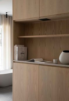 Sandbjerg Residence is a minimalist house located in Northern Zealand, Denmark, designed by Norm Architects Residential Interior Design, Contemporary Interior, Danish House, Bedroom Cabinets, Inspiration Design, Interior Inspiration, Bench Designs, Wood Panel Walls, Built In Cabinets