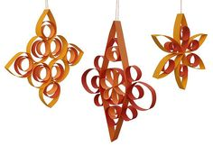 handmade ornaments ... gingerbread snowflakes ... paper strips or toilet paper rolls should do it ...