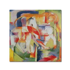 This ready to hang, gallery-wrapped art piece features an elephant, a horse and a cow superimposed within a colorful abstract background. Franz Marc was a German painter and printmaker, one of the key