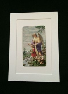 Vintage 5 x 7 Matted Religious Card  Guardian Angel by haoli