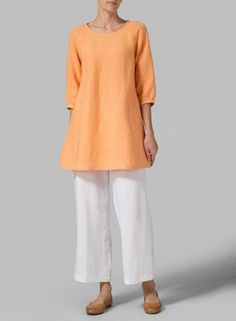 I like the color and I like linen.  Not crazy about the baggy pants and mid-length sleeves.