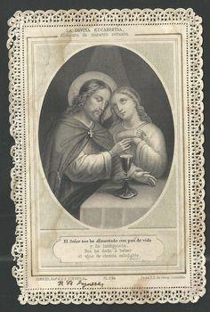 estampa de puntilla canivet de Jesus andachtsbild santino holy card santini Vintage Holy Cards, Religion Catolica, Holy Quotes, Heart Of Jesus, Sacred Heart, Holi, Jesus Christ, Blessed, Faith