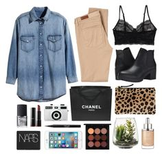 """""""Billie Romman"""" by sophiehackett ❤ liked on Polyvore featuring Holga, Monki, Clare V., NARS Cosmetics, Steve Madden, blacklUp, H&M, AG Adriano Goldschmied, Chanel and MAC Cosmetics"""