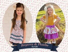 Rayann's Retro Dress/Top AND Phoebe's Drop Waist Dress. PDF sewing pattern for toddler girl sizes 2t - 12.