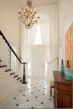 Gorgeous entry drapes. House of Turquoise