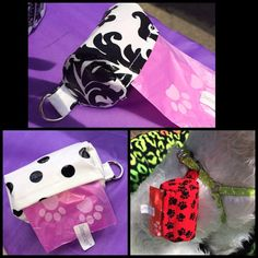 These are doggie waste bag holder pouches. They can easily be clipped onto a harness, or keys or a purse. There fabric is super light weight and flexible. Included with every pouch is a free roll of bags. The pouches are refillable too