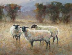 Astoria Fine Art Gallery located in Jackson Hole, Wyoming. Featuring national and international award-winning artists. Sheep Paintings, Paintings I Love, Animal Paintings, Watercolor Animals, Watercolor Art, Sheep Illustration, Sheep Art, Farm Art, Fine Art Gallery