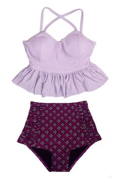 Lavender Long Peplum Top and Burgundy Rouched Ruched High waist waisted Shorts Bottom Swimsuit Swimwear Bikini Bathing from venderstore on Etsy.