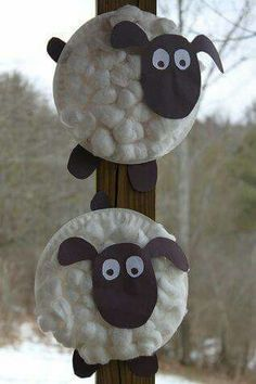 Paper plate sheep with cotton balls for wool