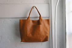Large Horizontal Leather Bag  Cognac  made to by stitchandtickle, $375.00