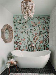 My master bohemian style master bathroom is my happy place ❤️ Small Bathroom Wallpaper, Bathroom Mural, Small Space Bathroom, Bedroom Murals, Boho Bathroom, Wall Paper Bathroom, Bathroom Inspo, Master Bathroom, Wall Murals