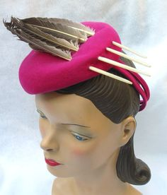 1940's Vintage Fuchsia Tilt Toy Hat with Feathers New York Creation  $75