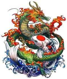 Dragon and Koi Commssion by yuumei on DeviantArt - Dragon and Koi Commssion by yuumei.deviantart… on - Koi Dragon Tattoo, Dragon Koi Fish, Koi Fish Tattoo, Japanese Dragon Tattoos, Dragon Tattoo Designs, Japanese Tattoo Art, Kunst Tattoos, Body Art Tattoos, New Tattoos