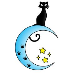 Cat On The Moon Tattoo Clipart - Blue Moon with Yellow Stars ❥❥❥ https ...
